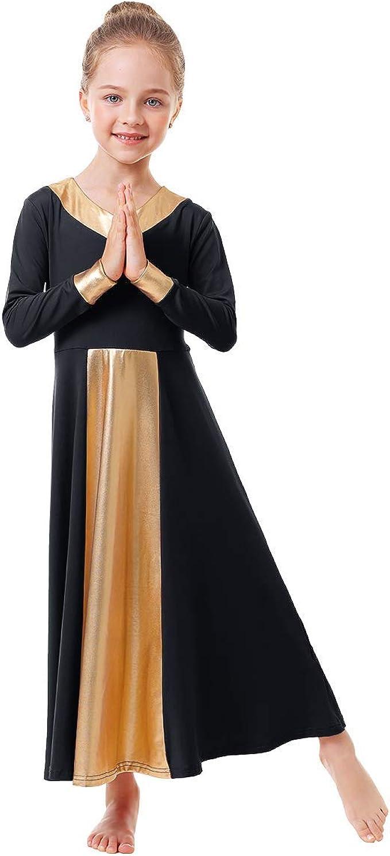 Girls Kids Lyrical Dance Dress Liturgical Church Praise Party Metallic Dancewear