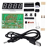 "WHDTS 0.56"" C51 4 Bits Digital Electronic Clock Kit Red LED AT89C2051 Chip DIY Kits Solder Practice Learning Kits"