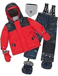 Deux par Deux Little Boys' 2-Piece Snowsuit Hey Mr Dj Red, Sizes 18-36M