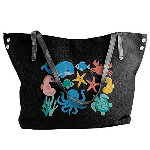Clipart Large Bag Shoulder Handbag Black Under Hand The Animal Canvas Sea Women's Tote zqw544g