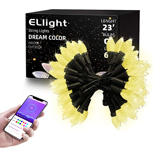 ELlight C9 Outdoor String Lights with Bluetooth APP, Dream Color Changing LED Commercial Outdoor Christmas Lights Waterproof for Patio Party Holiday Wedding Birthday [60 LEDs & 23ft]