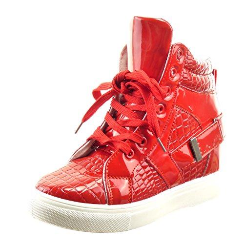 Sopily - Zapatillas de Moda altas Tobillo mujer piel de serpiente Hebilla patentes Talón Plataforma 7 CM - Rojo