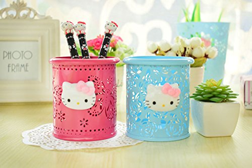 d88c0bac1 YOURNELO Cute Hello Kitty Hollow-Out Pen Pencil Holder Desk Organizer  Accessories (Rose Butterfly