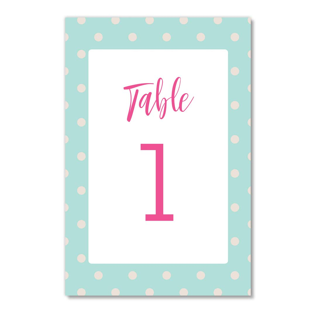 Baby Shower Table Numbers 25 Count Pink on Blue Polka Dots Boy Girl Newborn Sprinkle Gender Neutral Reveal Brunch Luncheon Dinner Celebration Reserved Seats Single Sided 4