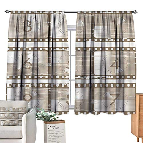 Numbers Decor Curtains Numbers on a Film Strip Suitable for Bedroom Living Room Study, etc.55 Wx63 L