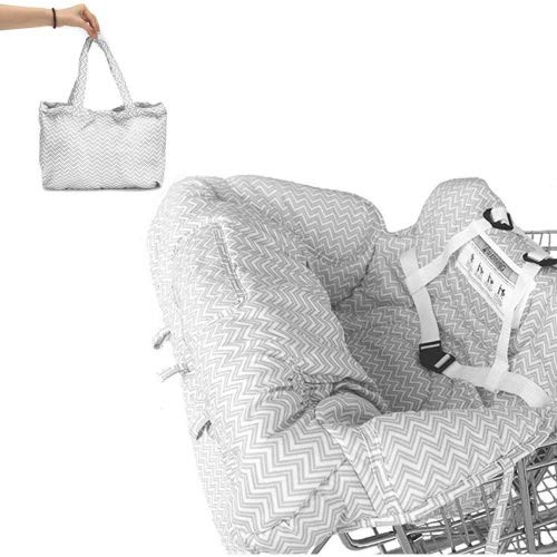 Baby Children Kids Toddler Trolley Supermarket Shopping Cart Padded Seat Cover with Safety Strap Anti-Stain Dirty High Chair Shield Pad (with Safety Strap, Grey)