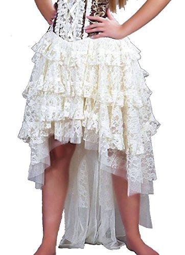 Gypsy Costume Uk (Burleska Women's Steampunk Ophelie Skirt (S/M, Cream Lace))