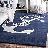 nuLOOM Set Sail Hand Tufted Wool Rug, 5' x 8', Navy