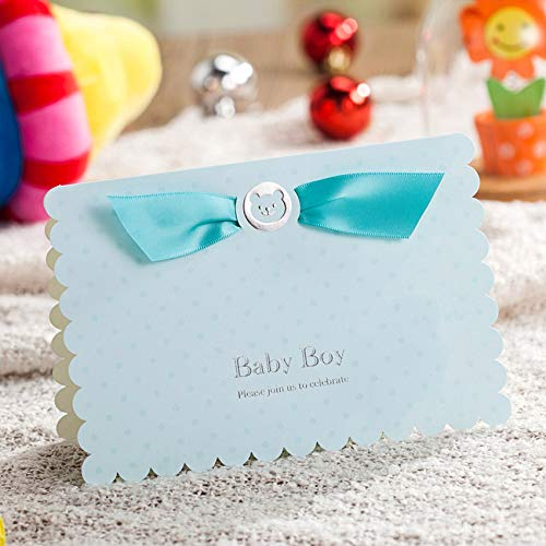 WISHMADE Invitations Cards Kits Blue 20 Count for Boys Birthday Baby Shower with Printable Paper and Envelopes