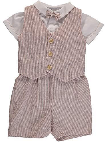 (Carriage Boutique Boys 3 Piece Vest Set - Tan Pinstriped)