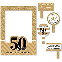 Big Dot of Happiness We Still Do - 50th Wedding Anniversary Selfie Photo Booth Picture Frame & Props - Printed on Sturdy Material