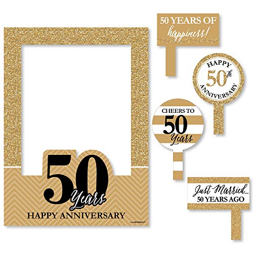 Big Dot of Happiness We Still Do - 50th Wedding Anniversary Selfie Photo Booth Picture Frame & Props - Printed on Sturdy Material -
