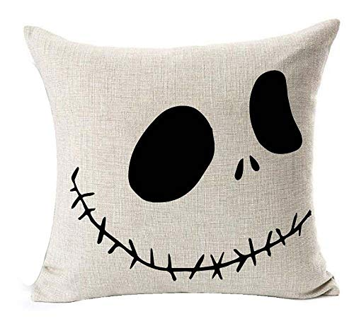 (LYNZYM Nightmare Before Christmas Cotton Linen Square Throw Pillow Case Decorative Cushion Cover Pillowcover for Sofa 18