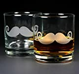 MUSTACHE Lowball Glasses set of 2 - Dishwasher-safe etched whiskey glass