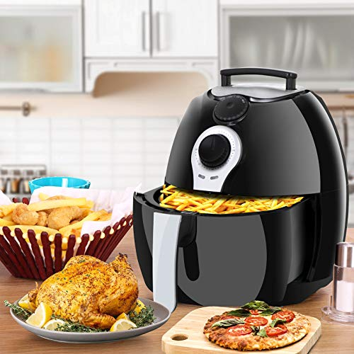 SUPER DEAL 1500W Electric Air Fryer W/Timer, Temperature Control, Detachable Basket Handles Free Oil (#3) ()