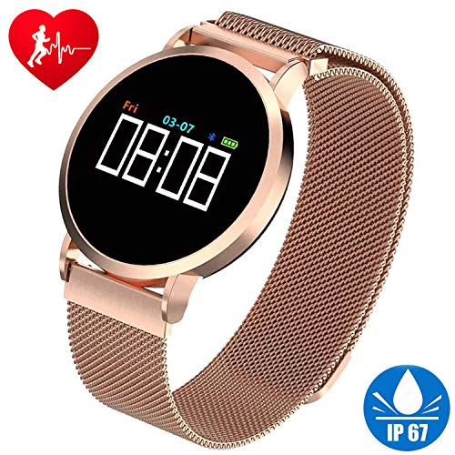 Smart Watch Fitness Tracker HR for Men Women Kids IP67 Waterproof Fashion Smart Watch with Heart Rate Blood Pressure Sleep Monitor Pedometer Calorie Tracker Sport Outdoor Wristband for Android/iOS by Xenzy
