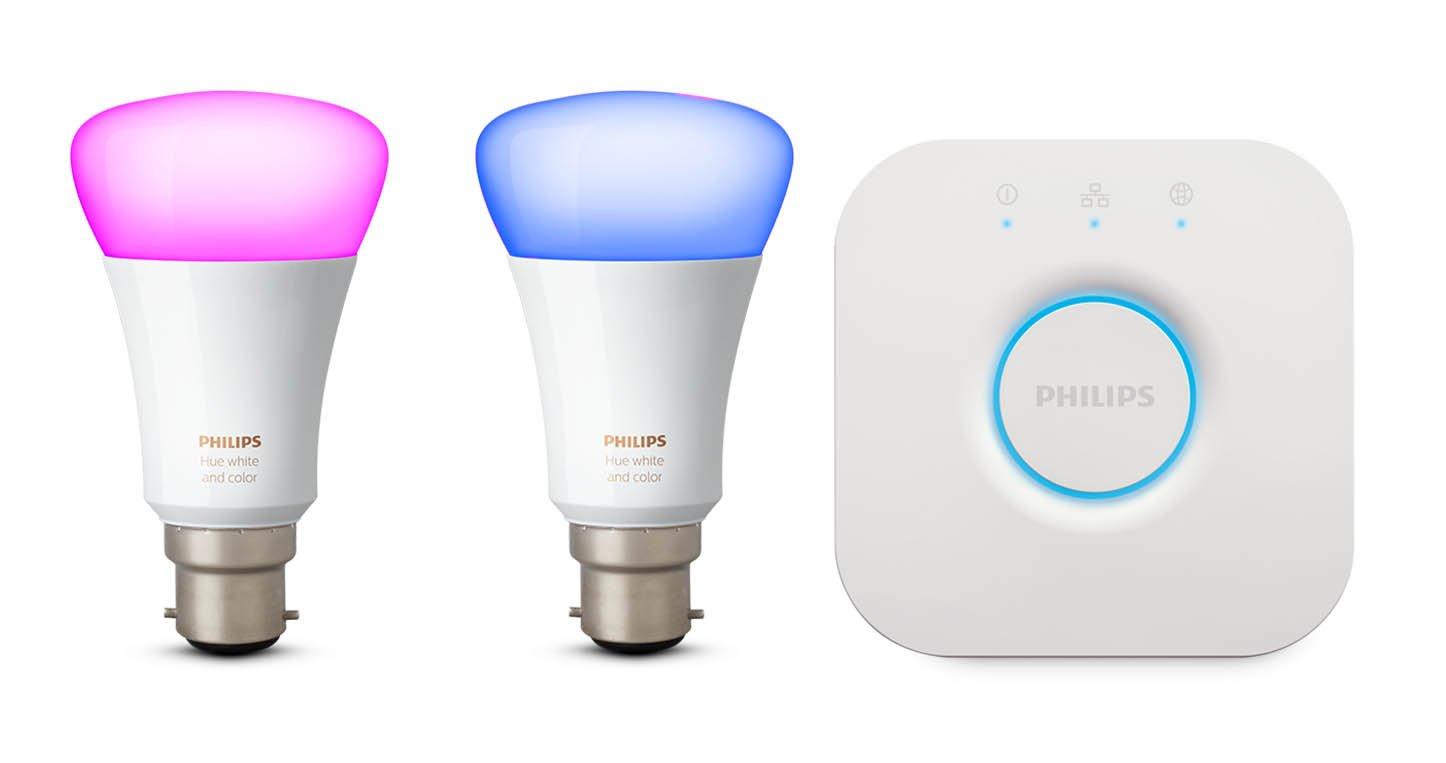Philips Hue weiß und Farbe Ambiance Leuchtmittel Twin Pack mit Steg, B22, 10 W