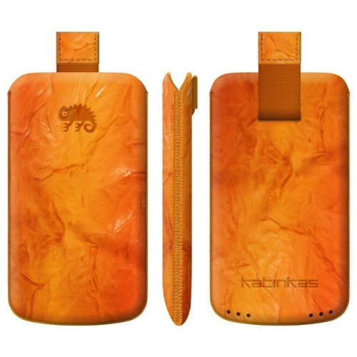 KATINKAS 2108046923 Special Effect Leather Case with Pull Tab for HTC One S - 1 Pack - Retail Packaging - Orange