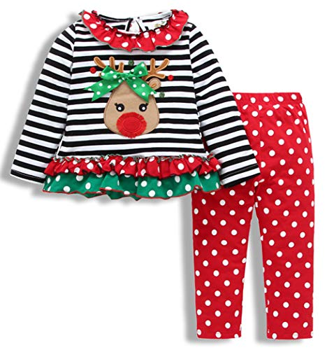 SWNONE Christmas Outfit Toddler Infant Baby Girls Clothes Set Deer Print Shirt Dress+Pants (Baby Girl Christmas Outfit Multicolor, 4-5 Years Old)