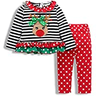 SWNONE Christmas Outfit Toddler Infant Baby Girls Clothes Set Deer Print Shirt Dress+Pants
