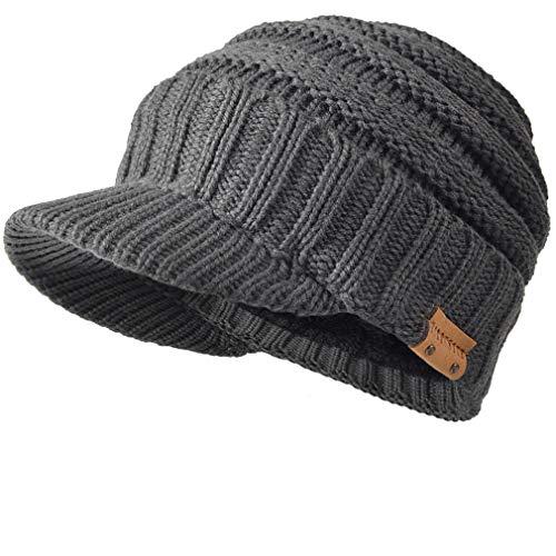 FORBUSITE Knit Visor Beanie Hat for Men Women Winter B320 Grey ()