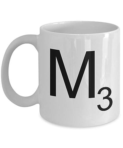 Scrabble Letter M Mug Unique Novelty Gag Gift Idea For Friends Men