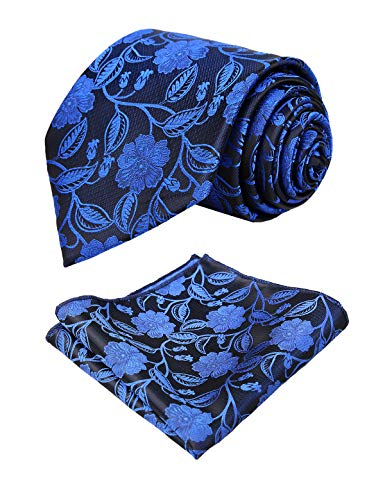 Alizeal Mens Solid Color Floral Jacquard Tie and Hanky Set, Royal Blue ()