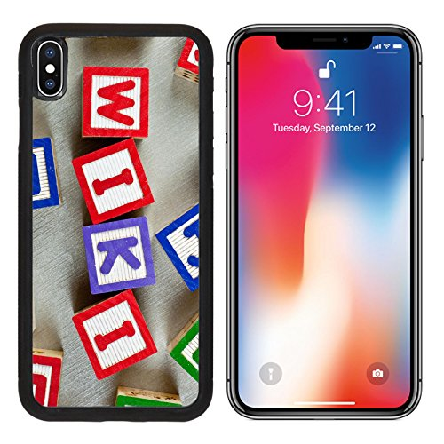 MSD Premium Apple iPhone X Aluminum Backplate Bumper Snap Case Wooden blocks forming the word WIKI in the center IMAGE 20485220