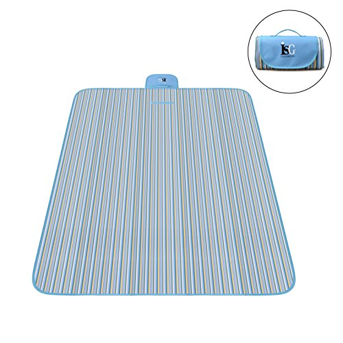 InsGreen Large Foldable Picnic Blanket, Waterproof and Sand proof Camping Beach Mat for Outdoor Use, Also Perfect for Baby Playing Indoor, Easy to Carry, Fold and Clean (Blue Stripes)