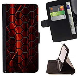 DEVIL CASE - FOR Samsung Galaxy Note 4 IV - Abstract Red Hexagon - Style PU Leather Case Wallet Flip Stand Flap Closure Cover