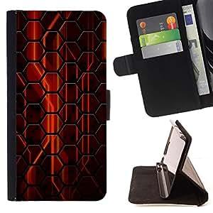 For Samsung Galaxy S6 EDGE - Abstract Red Hexagon /Funda de piel cubierta de la carpeta Foilo con cierre magn???¡¯????tico/ - Super Marley Shop -