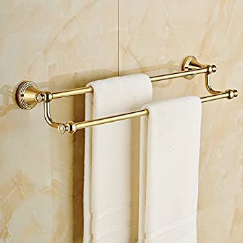 wall mount double towel bar gold brass bath towel rack - Double Towel Bar