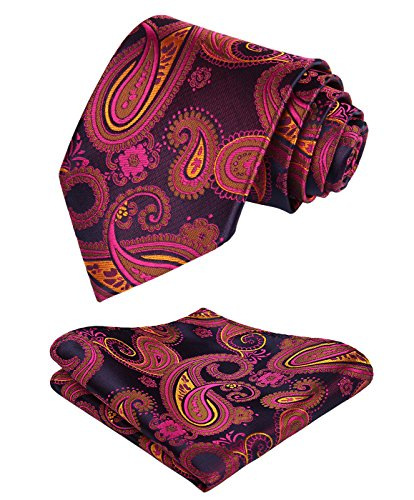 HISDERN Men's Floral Paisley Jacquard Woven Tie Necktie Set 8.5 cm / 3.4 inches in Width Hot Pink/Blue/Orange