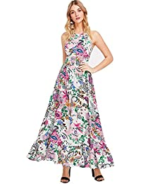 Women's Sleeveless Halter Neck Vintage Floral Print Maxi...