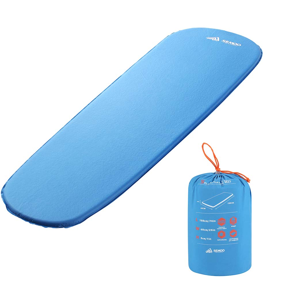 SEMOO Self-Inflating Sleeping Pads, Lightweight Foam Padding Ultralight Compact Foldable Insulated Mat for Hiking by SEMOO