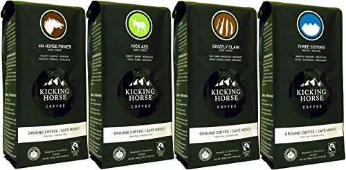 Kicking Horse Ground Coffee 4-Flavor Variety Pack (Pack of 4)
