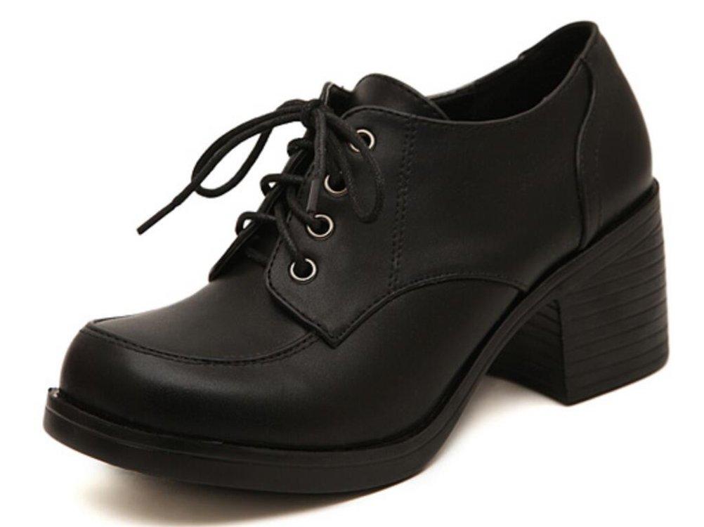 ACE SHOCK Women's Girl's Lolita Low Top Japanese Students Maid Uniform Dress Shoes (8, Black)