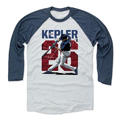 500 LEVEL Max Kepler Baseball Tee Shirt Medium Indigo/Ash - Minnesota Baseball Raglan Shirt - Max Kepler Stadium (Minnesota Twins Mlb Baseball Stadium)