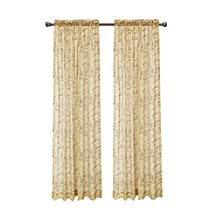 """CaliTime Window Curtains Panels 50"""" X 84"""", French Script Faux Linen Sheers, Gold, Pack of 2"""