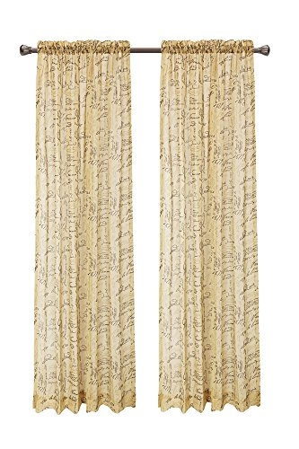 CaliTime Window Curtains Panels 50″ X 84″, French Script Faux Linen Sheers, Gold, Pack of 2