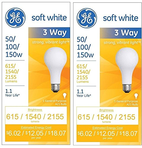 2 Pack Incandescent Light Bulb (Three-Way Soft White Incandescent Bulb, 50/100/150 Watts GEL41280)