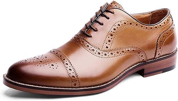 TALLA 40 EU. Desai Zapato Piel Brogue con Cordones Oxford Para Hombre