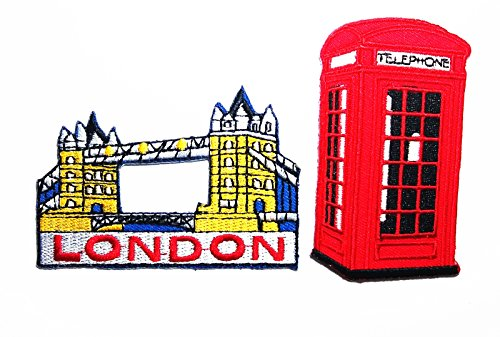 PP patch Set 2 Tower Bridge London Travel patch , TELEPHONE BOX patch DIY Applique Embroidery Iron on - Global Tracking Usps Mail