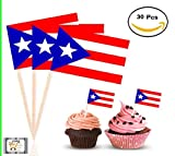 30Pc - Proud Puerto Rican Topper Flag, Colorful Flag Cake,Cupcake,Deserts,Cold or Hot Typical Dishes, Toppers Picks for Decorations (Puerto Rico)