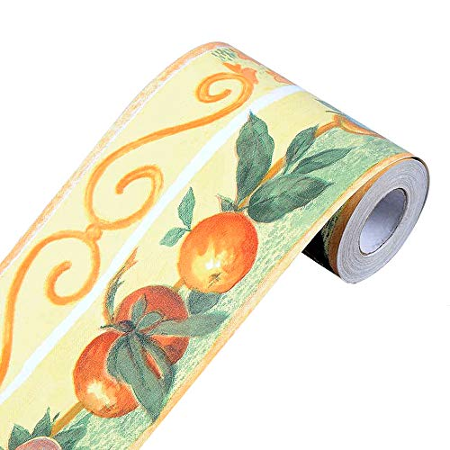 Yifely Fruit Orange Wallpaper Border Self-adhesive Wall Covering Borders Kitchen Bathroom Tiles Decor Sticker]()