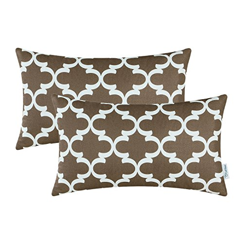 Pack of 2 CaliTime Bolster Pillow Covers Cases for Couch Sofa Home Decor, Modern Quatrefoil Accent Geometric, 12 X 20 Inches, (High Rustic Brown Outdoor Light)