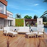 Modway EEI-1472-NAT-WHI-SET Marina 5 Piece Outdoor Patio Furniture Set, Two Armchairs, Loveseat, Ottomans, Natural White