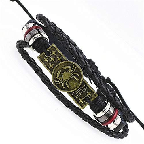 - New Weave Buckles 12 Constellations Bracelet Leather Zodiac Bracelet for Women Men Wooden Bead Black Gallstone Charm Jewelry