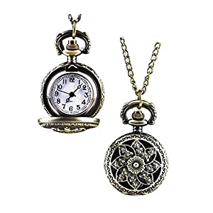 GlobalDealRetro Vintage Steampunk Quartz Necklace Carving Pendant Chain Clock Pocket Watch