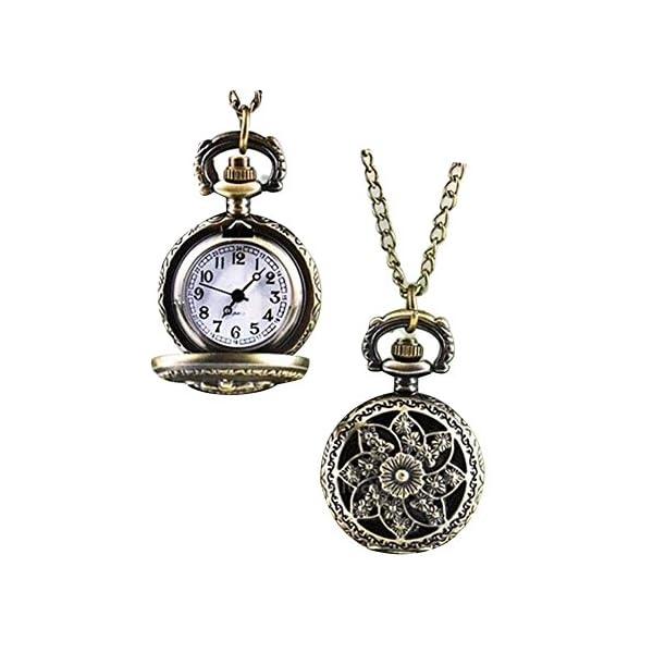 GlobalDealRetro Vintage Steampunk Quartz Necklace Carving Pendant Chain Clock Pocket Watch 3
